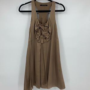 Black Halo dress 100% silk tan sleeveless size 0
